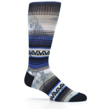 Image of Blue Gray Mexi Stripe Men's Casual Socks (side-1-25)