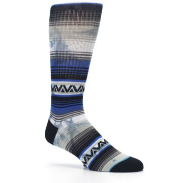 Image of Blue Gray Mexi Stripe Men's Casual Socks (side-1-26)