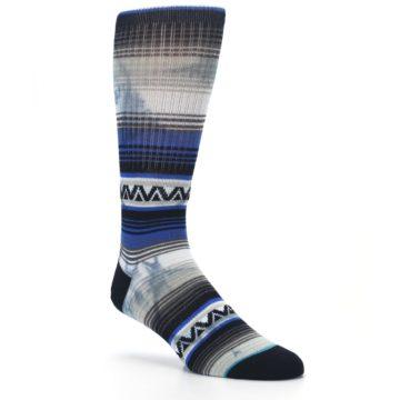 Image of Blue Gray Mexi Stripe Men's Casual Socks (side-1-27)