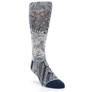 Image of Gray Navy Flora Print Men's Casual Socks (side-1-front-02)