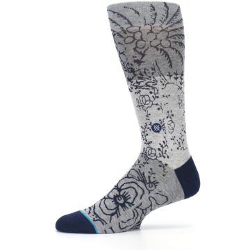 Image of Gray Navy Flora Print Men's Casual Socks (side-2-11)