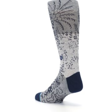 Image of Gray Navy Flora Print Men's Casual Socks (side-2-back-15)