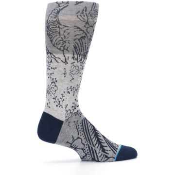 Image of Gray Navy Flora Print Men's Casual Socks (side-1-24)