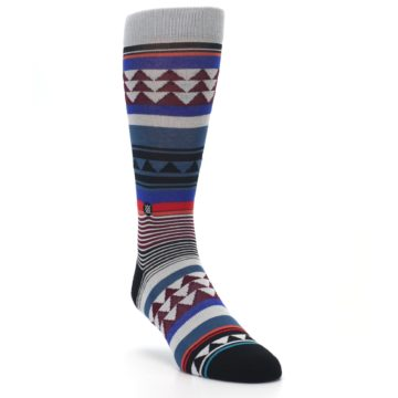 Image of Gray Multi Triangle Stripes Men's Casual Socks (side-1-front-02)