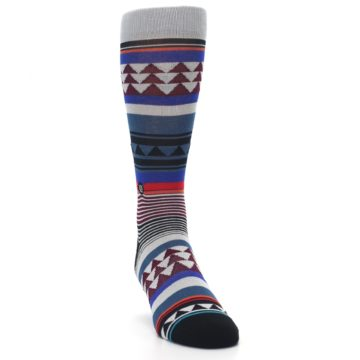 Image of Gray Multi Triangle Stripes Men's Casual Socks (side-1-front-03)