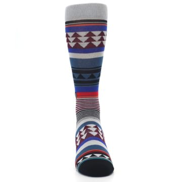 Image of Gray Multi Triangle Stripes Men's Casual Socks (front-04)