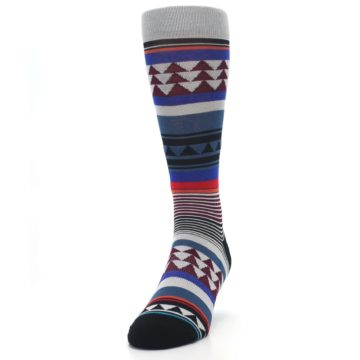 Image of Gray Multi Triangle Stripes Men's Casual Socks (side-2-front-06)