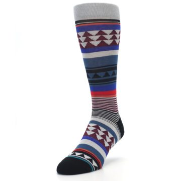 Image of Gray Multi Triangle Stripes Men's Casual Socks (side-2-front-07)