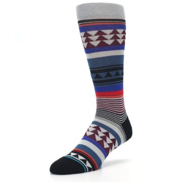 Image of Gray Multi Triangle Stripes Men's Casual Socks (side-2-front-08)