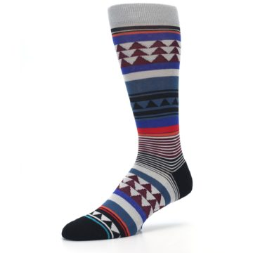 Image of Gray Multi Triangle Stripes Men's Casual Socks (side-2-09)