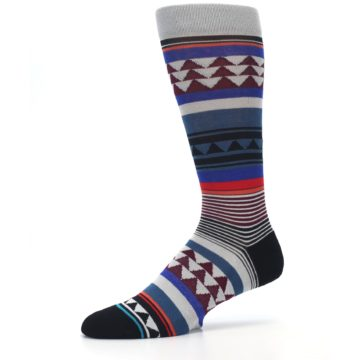 Image of Gray Multi Triangle Stripes Men's Casual Socks (side-2-10)