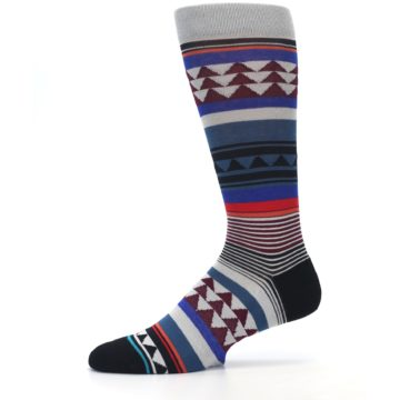 Image of Gray Multi Triangle Stripes Men's Casual Socks (side-2-11)