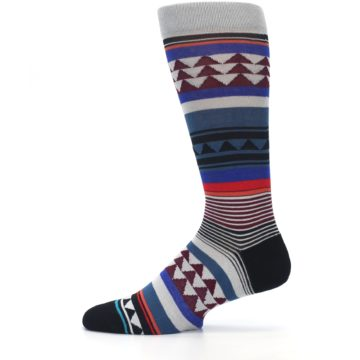Image of Gray Multi Triangle Stripes Men's Casual Socks (side-2-12)