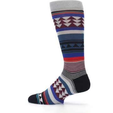 Image of Gray Multi Triangle Stripes Men's Casual Socks (side-2-13)