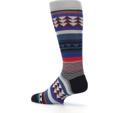 Image of Gray Multi Triangle Stripes Men's Casual Socks (side-2-back-14)
