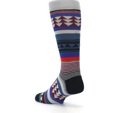 Image of Gray Multi Triangle Stripes Men's Casual Socks (side-2-back-15)