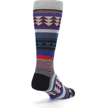Image of Gray Multi Triangle Stripes Men's Casual Socks (side-1-back-21)