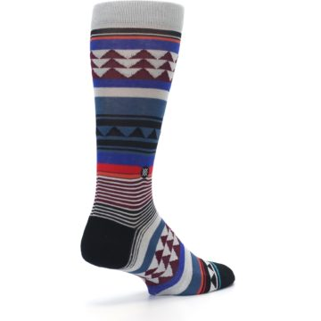 Image of Gray Multi Triangle Stripes Men's Casual Socks (side-1-back-22)