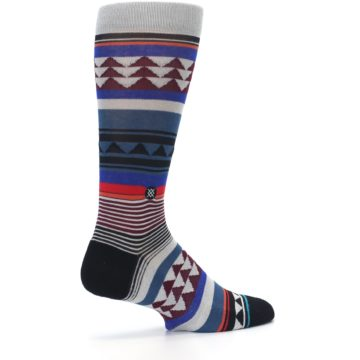 Image of Gray Multi Triangle Stripes Men's Casual Socks (side-1-23)