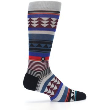 Image of Gray Multi Triangle Stripes Men's Casual Socks (side-1-24)