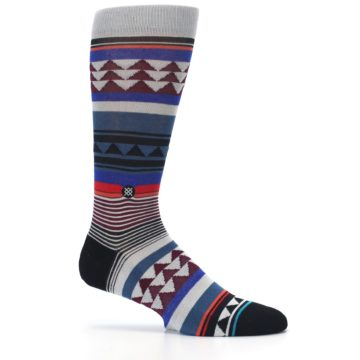 Image of Gray Multi Triangle Stripes Men's Casual Socks (side-1-25)