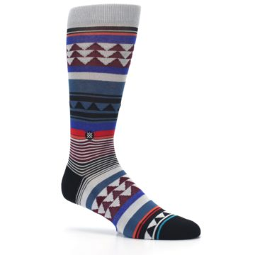 Image of Gray Multi Triangle Stripes Men's Casual Socks (side-1-26)