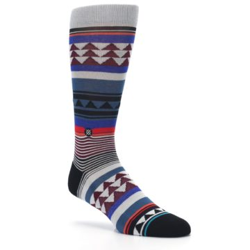 Image of Gray Multi Triangle Stripes Men's Casual Socks (side-1-27)
