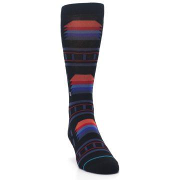 Image of Black Multi Alum Stripe Men's Casual Socks (side-1-front-03)