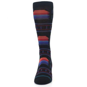 Image of Black Multi Alum Stripe Men's Casual Socks (front-05)