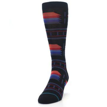 Image of Black Multi Alum Stripe Men's Casual Socks (side-2-front-06)