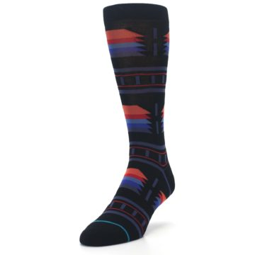 Image of Black Multi Alum Stripe Men's Casual Socks (side-2-front-07)