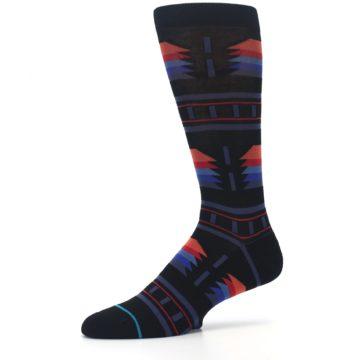 Image of Black Multi Alum Stripe Men's Casual Socks (side-2-10)