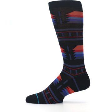 Image of Black Multi Alum Stripe Men's Casual Socks (side-2-12)