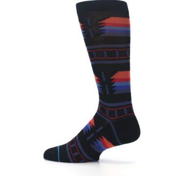 Image of Black Multi Alum Stripe Men's Casual Socks (side-2-13)