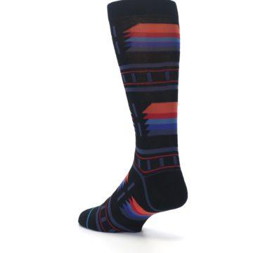 Image of Black Multi Alum Stripe Men's Casual Socks (side-2-back-15)