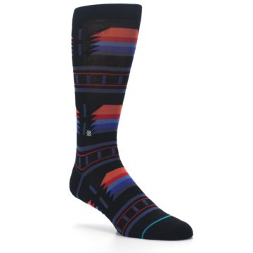 Image of Black Multi Alum Stripe Men's Casual Socks (side-1-27)