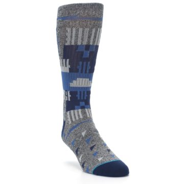 Image of Gray Navy Ericeira Pattern Men's Casual Socks (side-1-front-02)