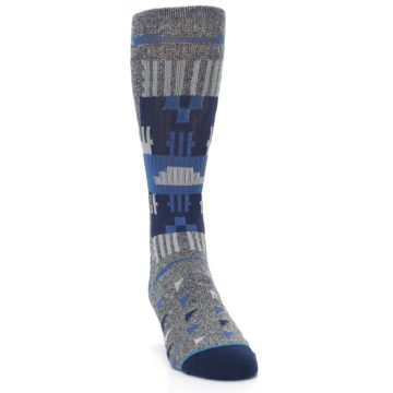 Image of Gray Navy Ericeira Pattern Men's Casual Socks (side-1-front-03)