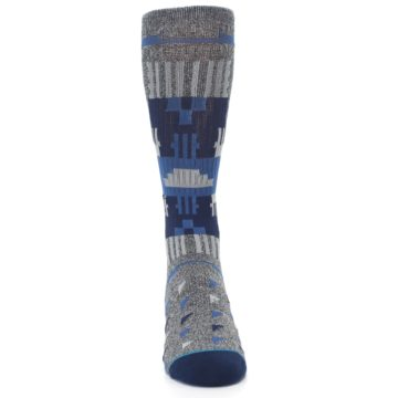 Image of Gray Navy Ericeira Pattern Men's Casual Socks (front-04)