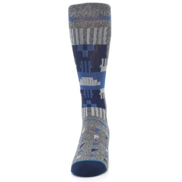 Image of Gray Navy Ericeira Pattern Men's Casual Socks (front-05)