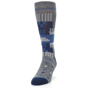 Image of Gray Navy Ericeira Pattern Men's Casual Socks (side-2-front-06)
