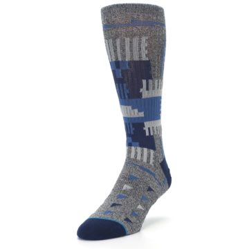 Image of Gray Navy Ericeira Pattern Men's Casual Socks (side-2-front-07)