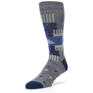 Image of Gray Navy Ericeira Pattern Men's Casual Socks (side-2-front-08)