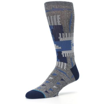 Image of Gray Navy Ericeira Pattern Men's Casual Socks (side-2-09)