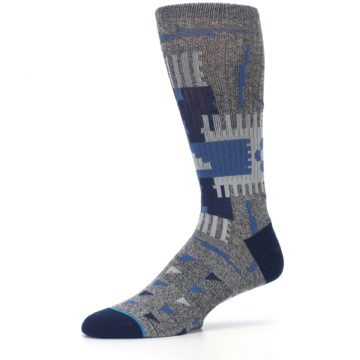 Image of Gray Navy Ericeira Pattern Men's Casual Socks (side-2-10)