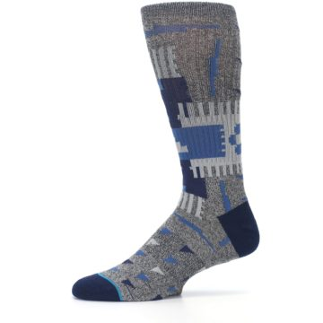 Image of Gray Navy Ericeira Pattern Men's Casual Socks (side-2-11)