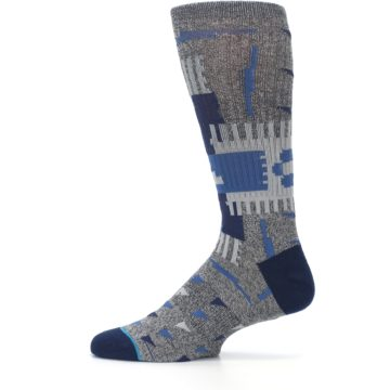 Image of Gray Navy Ericeira Pattern Men's Casual Socks (side-2-12)