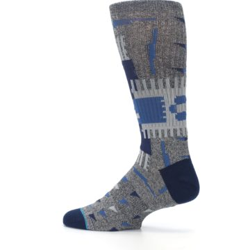 Image of Gray Navy Ericeira Pattern Men's Casual Socks (side-2-13)