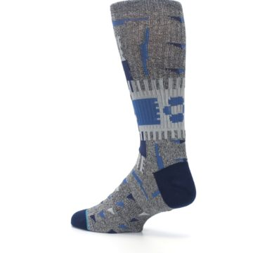 Image of Gray Navy Ericeira Pattern Men's Casual Socks (side-2-back-14)