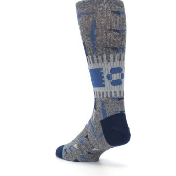 Image of Gray Navy Ericeira Pattern Men's Casual Socks (side-2-back-15)